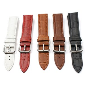 FUYIJIA Nouveau bracelet bande montre en cuir noir rouge 12mm ~ 24mm hommes femmes boucle ardillon watchbands motif crocodile ceinture imperméable à l'eau
