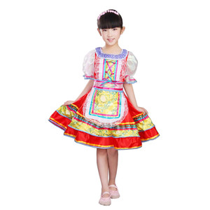 Disfraces SONGYUEXIA Nacional Rusa de rendimiento para los niños chinos vestido popular de la danza para niñas danza moderna vestido de princesa