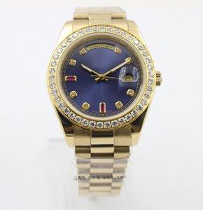 2020 Superlative Chronometer Automatic Diamon Men \&#039 ;S Wristwatch Full Yellow Gold Belt Blue Face With Calendar Folding Clasp Daydate