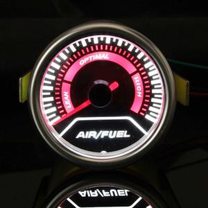 Bygd Universal 2 '' 52MM Car Auto Air Fuel Ratio Jauge moteur AFR Racing compteur moniteur LED blanc rouge pointeur 12V fumée objectif