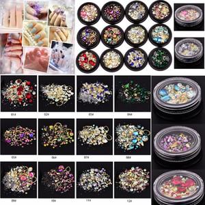 12 Cores Nail Art Decoração Charme Gem Beads Rhinestone Oco Shell Floco Rebite Flatback Mixed Brilhante Glitter 3D DIY Acessórios