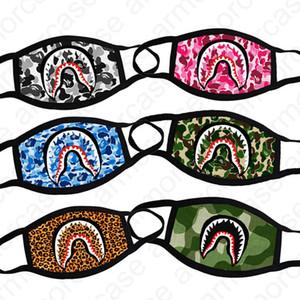 Frauen Bade Affe Gesichtsmaske Alle Saison Luxus Camo Shark Mund-Muffel Leopard Camouflage Gesichtsmasken Sport Radfahren Maske Designer Masken D4901