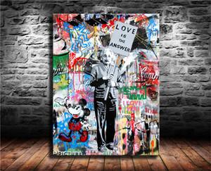 Einstein, Mr Brainwash, Impression Canvas HD New Art Décoration Peinture / (Unframed / encadré)