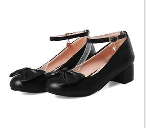 2020 Spring and Autumn with New style fashion Middle heel Coarse heel round head bowknot Women's shoes@KOP