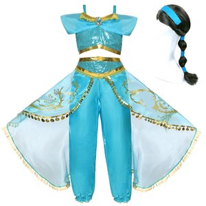 Princess Girls Jasmine Dress Kids Carnival Costume Children Clothes Christmas Short Sleeve Clothing Accessories Wig Headband