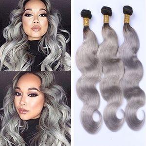 Ombre Grau Virgin Haar-Verlängerungen 1B Grau 3 Bundles Körper-Wellen-Menschenhaar Schwarz und Grau Ombre Haar-Webart 12-28inch