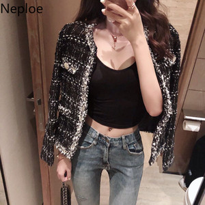 Fragrance Neploe pequeno casaco de tweed Curto Vintage Female New coreano solto Cardigan Casual Temperamento Jacket Autumn remendo 46184