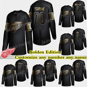 Detroit Red Wings Golden Edition 71 Dylan Larkin 19 Steve Yzerman 13 Pavel Datsyuk 9 Howe Personaliza cualquier número cualquier nombre camisetas de hockey