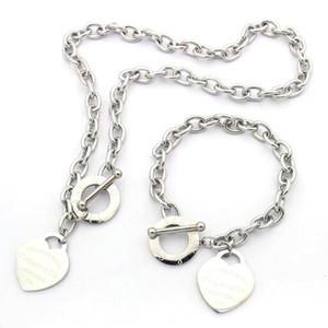Лучшие качества Экстравагантный дизайн ювелирных изделий из нержавеющей стали 3 цвета влюбленности сердца браслеты ожерелья для женщин Мужские наборы Оптовая цена