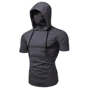 Homens T-shirt Moda com capuz Verão sem mangas T-shirt Máscara Pure Color pulôver Tees shirt do músculo masculino de homens Vest Tops Camiseta