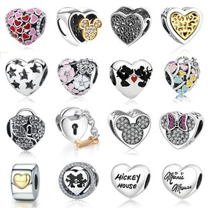 New Cross plata de ley 925 del corazón del amor mamá encanto esmalte rosado de bolas de oro adapta a Pandora pulsera DIY para la joyería Mujeres Accesorios No.006