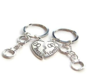 Vintage Silver Heart Best Friend Handcuff Keychain Set Punk BFF Friendship Key Ring For Keys Car Bag Key Chain Handbag Couple Gift Jewelry
