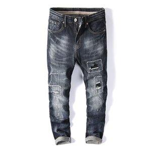 Pés remendo Buraco Mens Jeans Verão Tendência Magro stretch fino masculinos Calças longa reta Asiático Tamanho 28-38