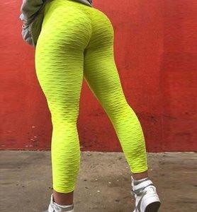 Free Shipping ePacket Women Sexy Fold High Waist Sports Running Pants Ladies Fitness Wear Designer Gym Clothes Women Yoga Pants