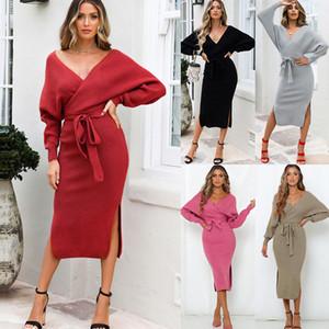 Kadınlar Elbiseler Bandaj Bow Örgü Elbise Sonbahar Ve Kış Bölünmüş Uzun Kollu Seksi Derin V-Yaka Parti Mini Elbise Günlük Katı Renk S-XL