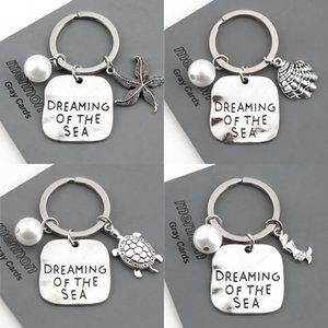 Estate stile sirena Starfish Shell portachiavi tartaruga portachiavi Sea turtle portachiavi spiaggia donne gioielli regalo borsa