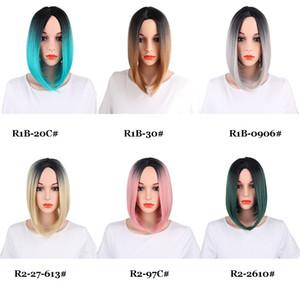 13inch droite Bob synthétique Style perruques 160g / Piece Dentelle Frontal Perruques Moyen partie Hairline 150% Densité de fibres différentes couleurs