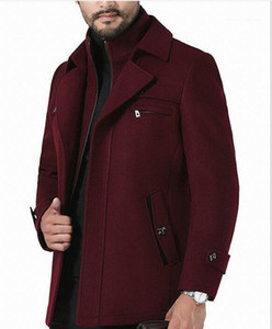 Color Long Coats Lapel Neck Button Zipper Business Style Fashion Hoome Clothing Casual Corta Vento Mens Winter Solid