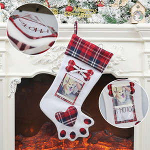 New Creative Christmas Festival Supply Dog Paw Stockings Pendant Gift Box Home Restaurant Festival Decoration Christmas Stockings