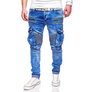 Azul Zippers rasgado motociclista Jean Calças Homens 2020 Primavera Hombres Jeans Mens Fashion