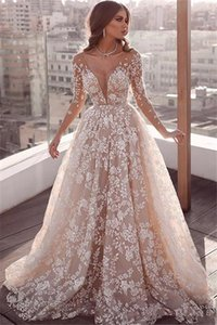 Luxury Sheer Neck Princess Wedding Dresses with Long Sleeve 2020 Full Lace Applique Arabic Dubai Beach Garden Wedding Gown