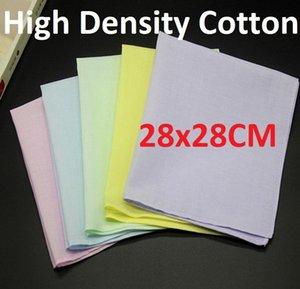 28X28cm 100% хлопок Bandans Мужчина Красочный Handkerchief Pure White Small Square Для Картина Tie крашения печати повязки Свадьбы мягкого шарфа