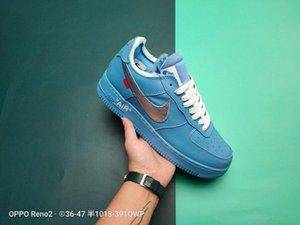 OFF WHITE Nike Air Force1 2020 Nova branco x 1 Universidade Low MCA Azul Mens Running Shoes Sports moda Designer Sneakers ar um des chaussures os sapatos