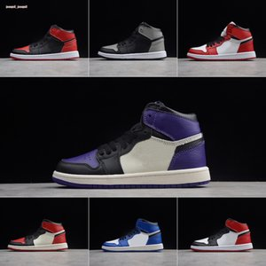 2019 1s Bred Kids Leather Stitching Mid Top Basketball Shoes Original 1 og Bred Kids High Top Sports Skateboard Shoes
