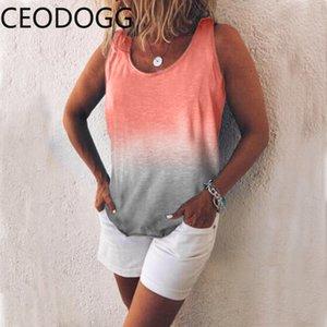 Ceodogg продать хорошо цвета печати нижняя футболка женский o образным вырезом пуловер без рукавов майки тройники лето свободные дикий топ