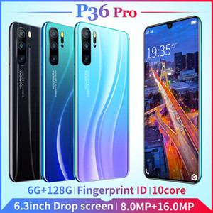 2019 Face Recognition Smartphone 6+128 GB Large Memory Mobile Smartphone P36 Pro with 6.3 Inch Full Screen Smartphone 4G Dual Camera