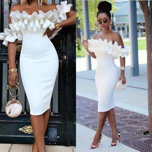Pure White vestidos de noche elegantes fuera del hombro vaina Prom Vestidos Corto té Longitud de la manga formal atractivo fs8569 vestido de la celebridad del partido