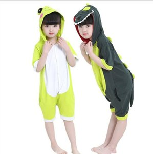 2020 Kid cartoon one-piece pajamas men and women summer short-sleeve new dinosaur clothes festival parent-child animal performance home se
