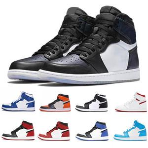 Nike Air Jordan 1 2019 Novo 1s Bred Couro High Top Casual Botas de Basquete Originais J1 Bred Athletic Shoes 1OG Criado