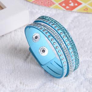 Самые дешевые ювелирные изделия fashion-аксессуары Многослойная Стразы Wrap браслет Rhinestone Люкс браслет Одноместный Wrap кожаный браслет для женщин