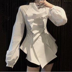 SHENGPALAE 2020 nuevo de la manera delgada de las mujeres del resorte de la vendimia de la blusa de cintura alta del estilo ocasional irregular plisada top de la camisa 2446