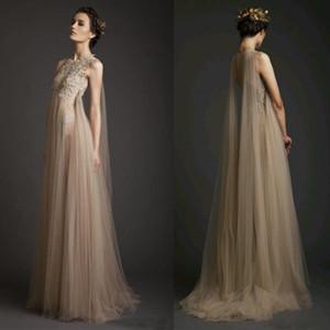 2020 Champagne Sexy Prom Dresses Jewel Neck A Line Formal Evening Occasion Dress Dubai Arabic robes de soirée