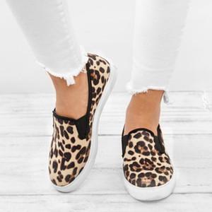 KHTAA Женщины Весна Мокасины Leopard Платформа Женский Холст Повседневный Flats Скольжение на Vulcanized обувь Женские неглубоко Comfort 2019 LY191202