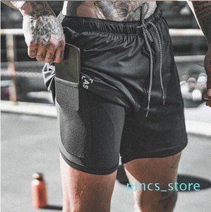 New Arrival Summer Double-Deck Mens Shorts Fitness Bodybuilding Breathable Quick Drying Short Gyms Men Casual Joggers Knee Length Pants wul