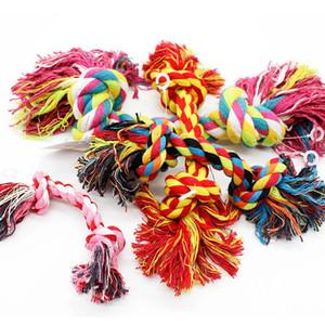 Animali Cani rifornimenti dell'animale domestico Pet Dog cucciolo cotone Chew Nodo giocattolo durevole corda intrecciato Bone 15CM divertente Tool (colore casuale)