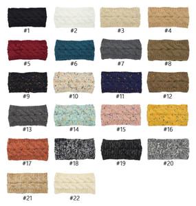 Livre DHL 22Colors Hairband colorido torção de malha Crochet Headband Inverno Ear Warmer Elastic Faixa de Cabelo Ampla Acessórios de cabelo