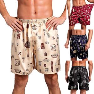 Hombres 'casual S Verano flojo impresión casero del entrenamiento ropa de noche corta de seda pijama de fitness playa del satén Corto Corto Masculino L-2XL
