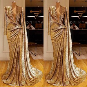 2020 abiti con frizzante Gold Prom profondo scollo a V pieghe maniche lunghe paillettes promenade della sirena abiti Dubai africano Special Occasion Dress