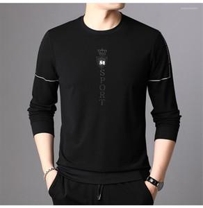 Мужские футболки мода спортивная вышивка повседневные топы мужские круглый вырез весна осень футболки дизайнер с длинным рукавом