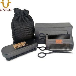 MOQ 50pcs Black Wood Beard Care Kit for Men Customized LOGO Fine & Coarse Tooth Comb & Boar Bristle Beard Brush & Scissors in Gift Box