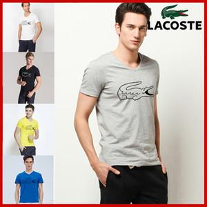 2018 Новое прибытие V шеи дна рубашки сплошной цвет с коротким рукавом футболки мужчины хлопок футболки французский известный бренд крокодил случайные футболки
