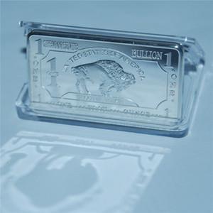50pcs / lot DHL de la venta al alemán barra para no imán 1 oz moneda de plata fina 999 bar alemán chapado en lingote del búfalo, plata