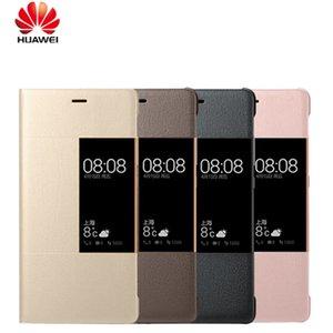100% original smart flip leder case abdeckung für huawei p9 fenster smart cases für huawei ascend p9 plus telefon funda