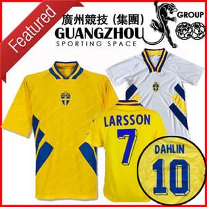 Weltmeisterschaft 1994 Schweden Retro Fussball Jersey Nationalmannschaft Home 94 Camisetas Dahllin Brolin Larsson Classic Vintage Football Hemden