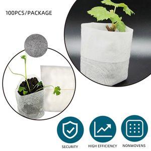 100PCS Bag Biodegradable Seed Nursery Bags Nursery Flower Pots Vegetable Transplant Breeding Pots Garden Planting Bag