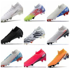 South Korea Zebra Mercurial Superfly 7 VII Elite FG Soccer Cleats Nuovo White Kinetic Black Blue Hero Neymar Speed LAB2 Future Lab Boots